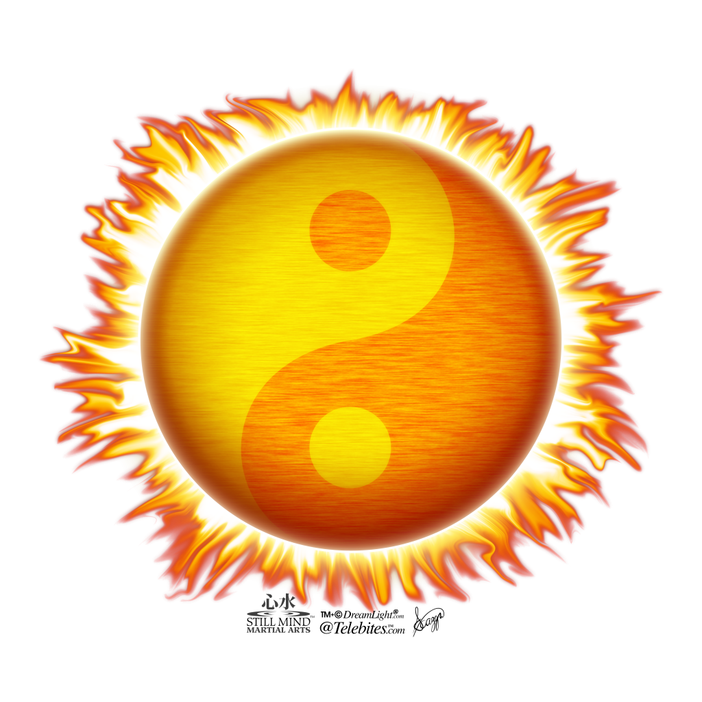 Tai Chi Taiji Symbol as Flaming Sun