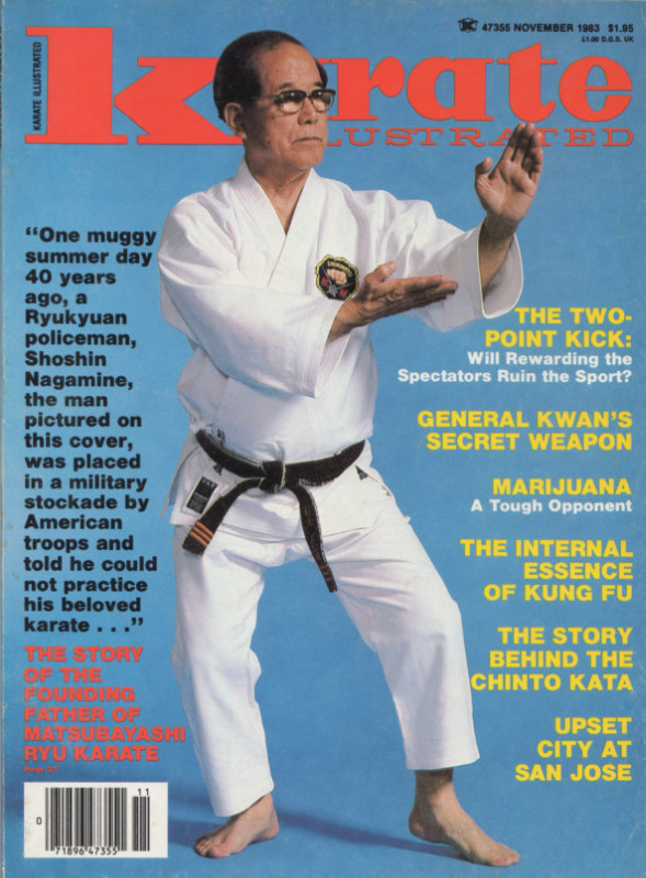 Shoshin Nagamine Demonstrates Yakusoku Kumite in Magazine Cover Article