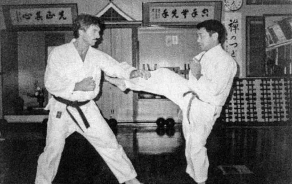 Sensei Bill George and Soke Takayoshi Nagamine training in the Honbo Dojo in Okinawa, 1984