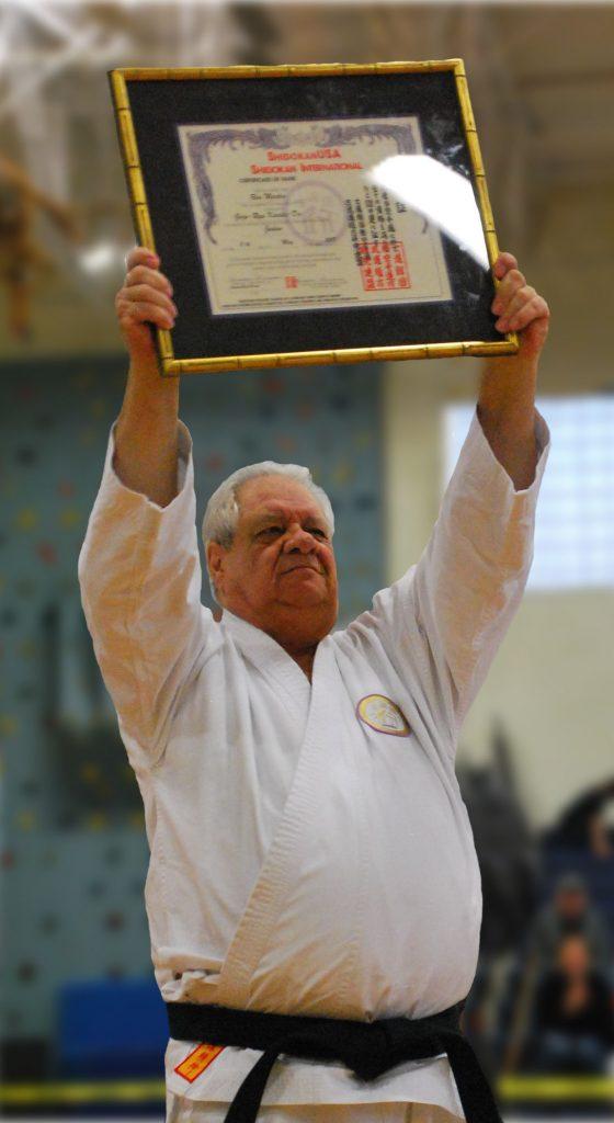Hanshi-sei Ron Martin receiving his Judan  (10th Degree Black Belt) Promotion in 2019