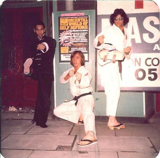 Hanshi-sei Ron Martin with GM Louis Neglia  at the Oriental World of Self Defence London England, circa 1974